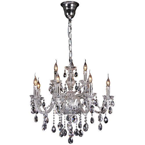 Florence 9 Light Chrome Glass Crystal Chandelier
