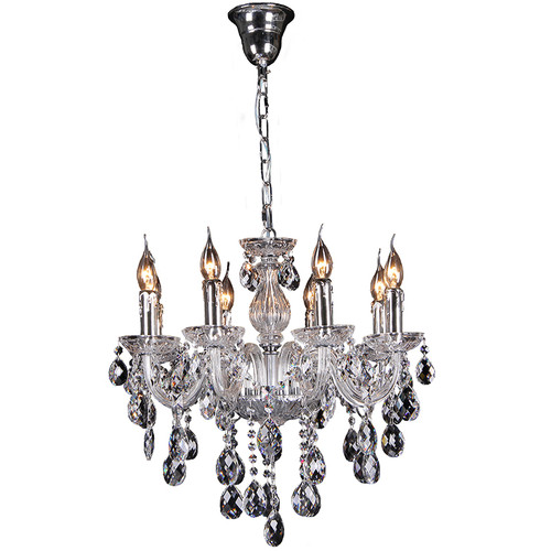 Florence 8 Light Chrome Glass Crystal Chandelier