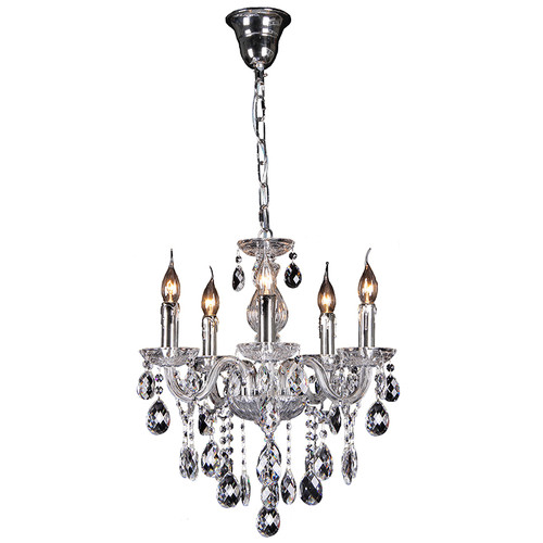 Florence 5 Light Chrome Glass Crystal Chandelier