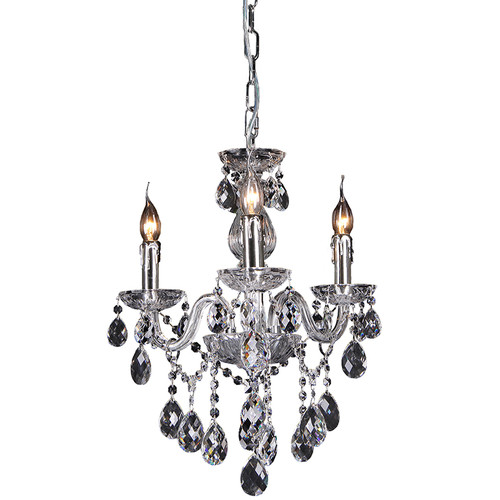 Florence 3 Light Chrome Glass Crystal Chandelier