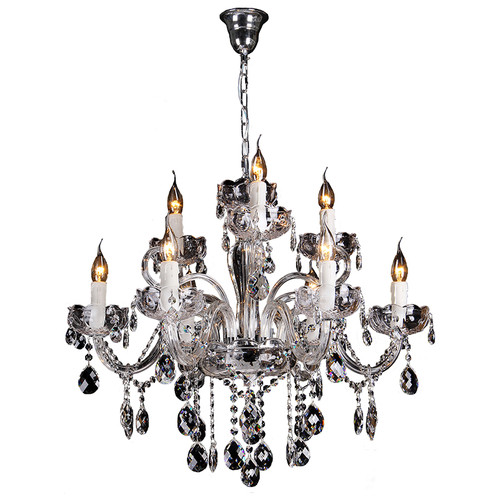 Prague 9 Light Chrome Glass Crystal Chandelier