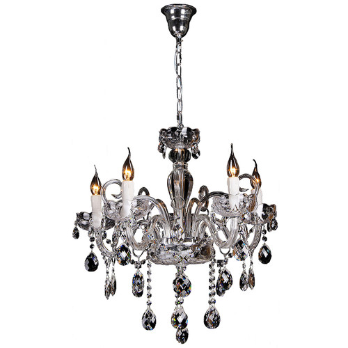 Prague 5 Light Chrome Glass Crystal Chandelier