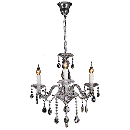 Munich 3 Light Chrome Glass Crystal Chandelier
