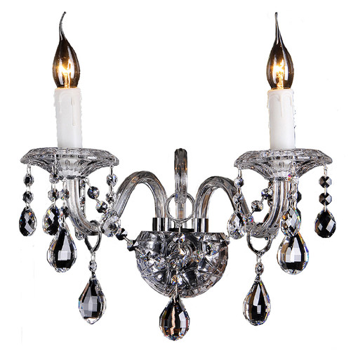 Munich 2 Light Chrome Glass Crystal Wall Light