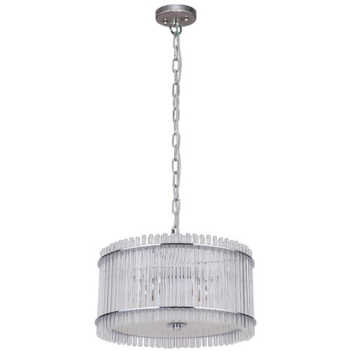 Stella 3 Light White Glass Chrome Drum Pendant