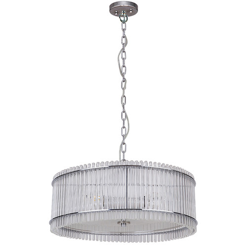 Stella 4 Light White Glass Chrome Drum Pendant