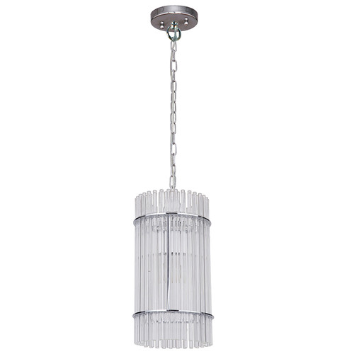 Stella 1 Light White Glass Chrome Cylinder Pendant