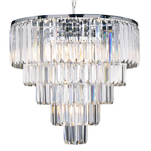 Celestial 5 Tier Chrome Crystal Pendant Chandelier