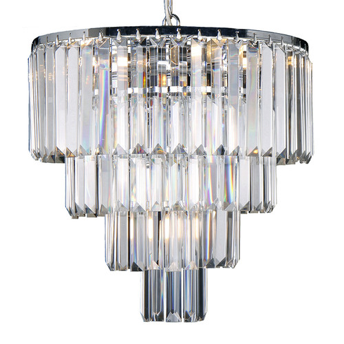 Celestial 4 Tier Chrome Crystal Pendant Chandelier