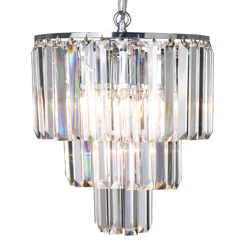 Celestial 3 Tier Chrome Crystal Pendant Chandelier