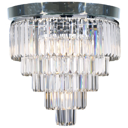 Celestial 5 Tier Chrome Crystal Close to Ceiling Light