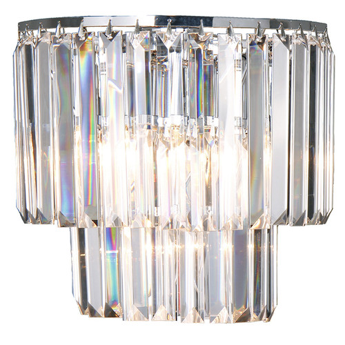 Celestial 2 Light Chrome Crystal Wall Light