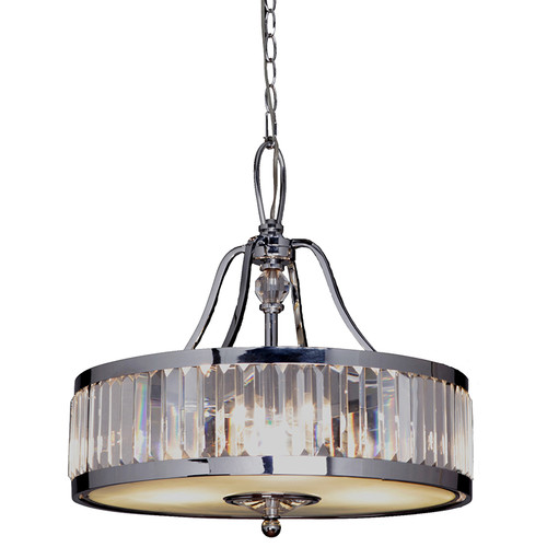Excelsior Chrome Glass Crystal Pendant Light - Small