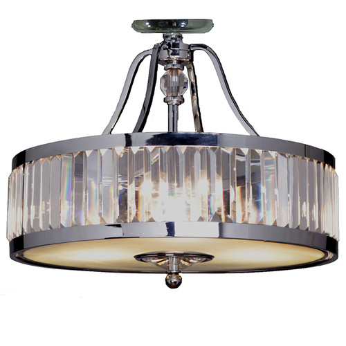 Excelsior Chrome Glass Crystal Close to Ceiling Light