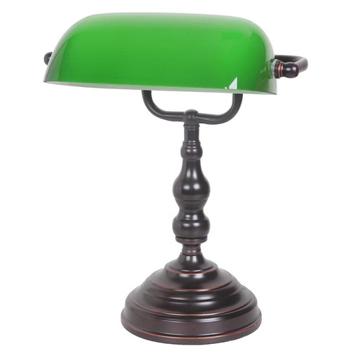 Bronze Green Bankers Table Lamp - Small