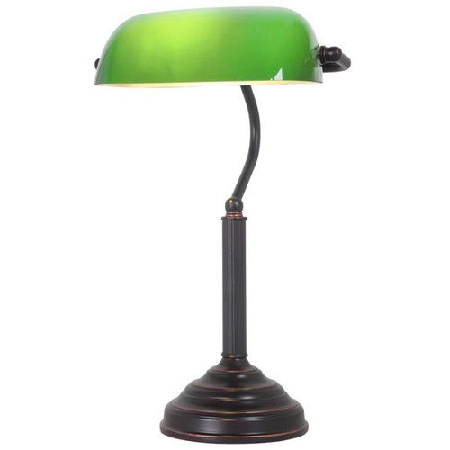 Bronze Green Bankers Table Lamp - Large