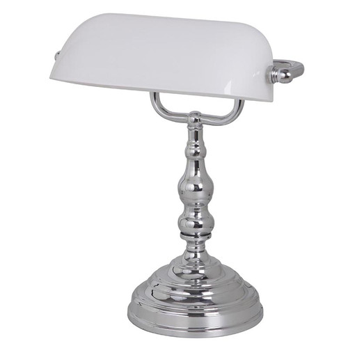 Chrome White Bankers Table Lamp - Small