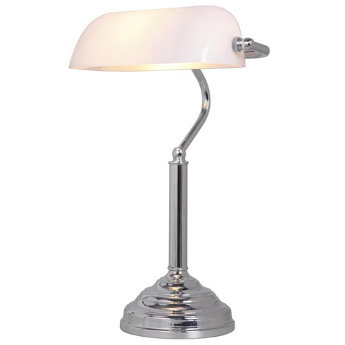 Chrome White Bankers Table Lamp - Large