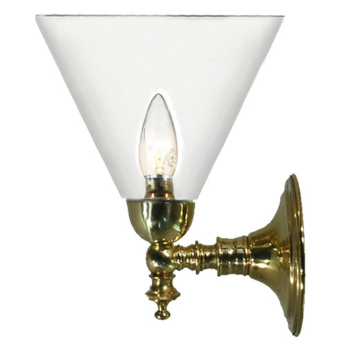 Kos Polished Brass Clear Shade Up Wall Light