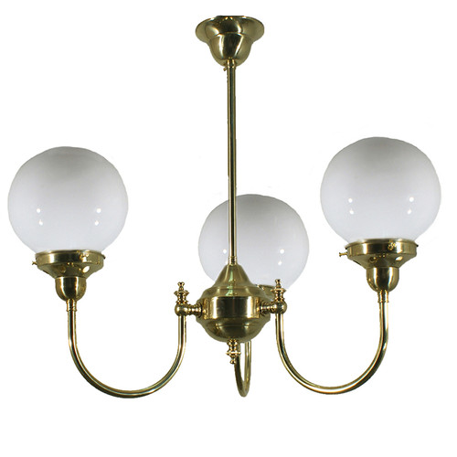 Clement 3 Light Brass Opal Glass Pendant Light
