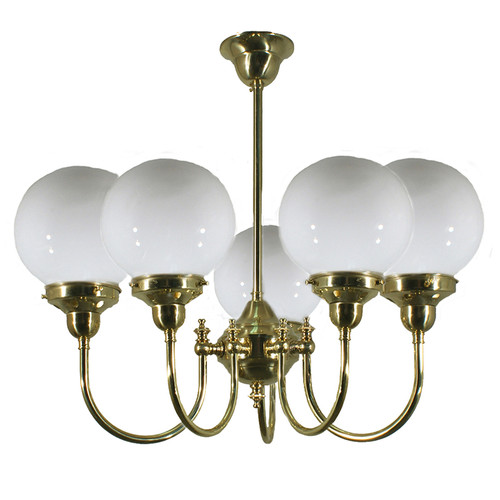 Clement 5 Light Brass Opal Glass Pendant Light