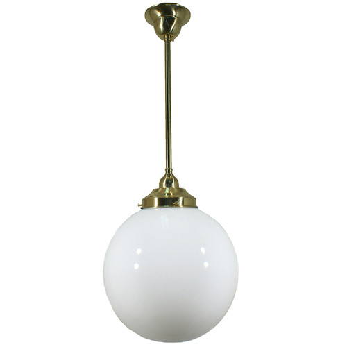 Sphere Brass Opal Glass Pendant Light