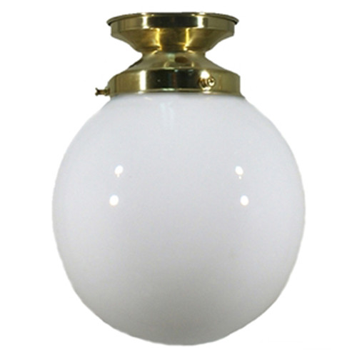 Sphere Brass Opal Glass Close to Ceiling Light