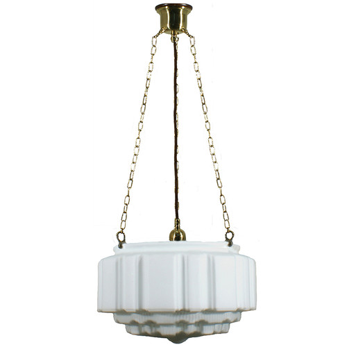 St Kilda 3 Chain Brass Opal Matt Suspension Light