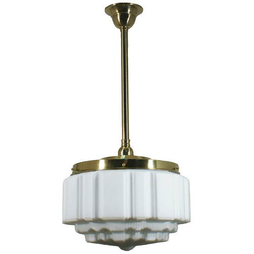 St Kilda Brass Rod Opal Matt Pendant Light - Large