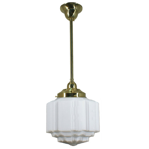 St Kilda Brass Rod Opal Matt Pendant Light - Small