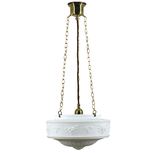Senator 3 Chain Brass Opal Matt Suspension Light