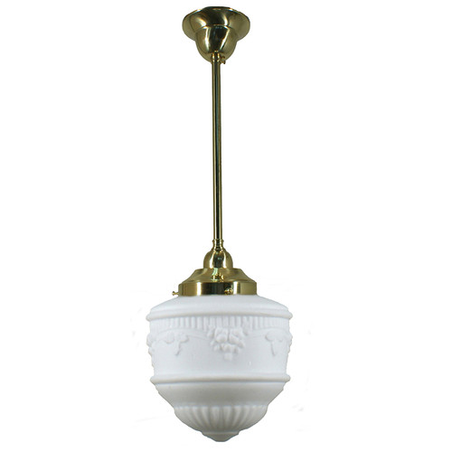 Senator Small Brass Rod Opal Matt Pendant Light