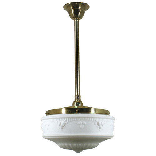 Senator Large Brass Rod Opal Matt Pendant Light