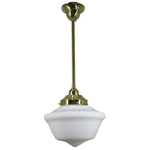 Victorian Schoolhouse Brass Rod Opal Pendant Light