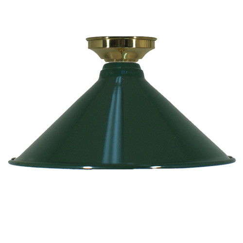 Industrial Green Brass Close to Ceiling Light