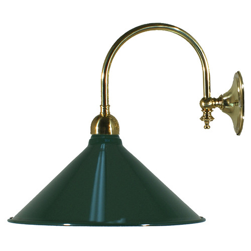 Industrial Green Brass Wall Light