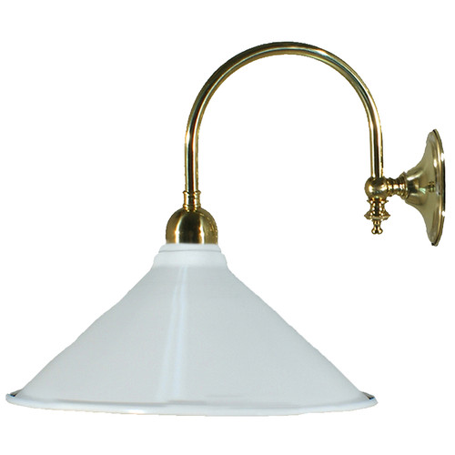 Industrial White Brass Wall Light
