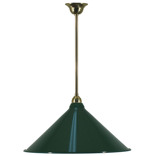 ndustrial Brass Rod Green Shade Pendant Light
