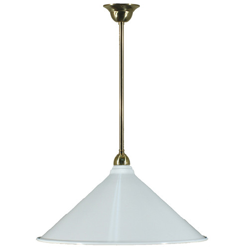 Industrial Brass Rod White Shade Pendant Light