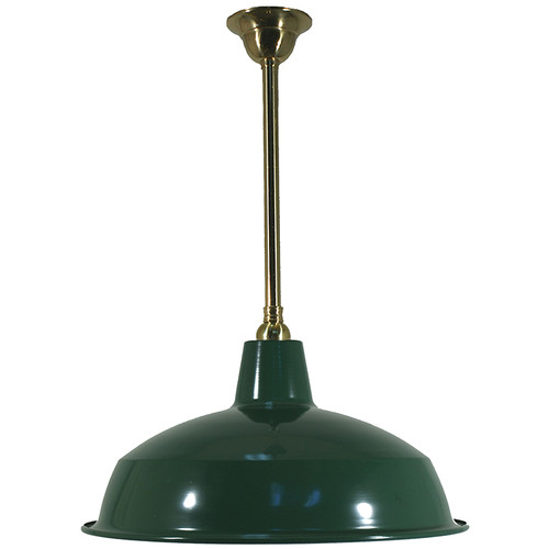 Warehouse Brass Rod Green Shade Pendant Light