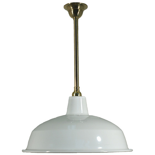 Warehouse Brass Rod White Shade Pendant Light - Large