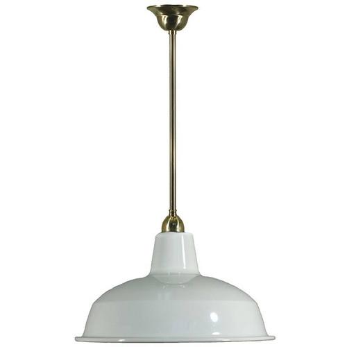 Warehouse Brass Rod White Shade Pendant Light