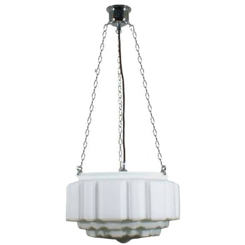 St Kilda 3 Chain Chrome Opal Matt Suspension Light