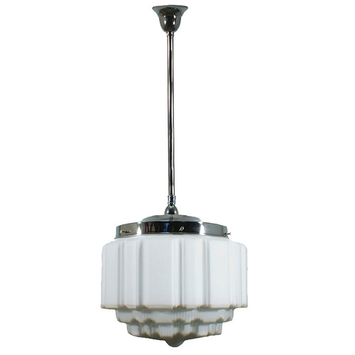 St Kilda Chrome Rod Opal Matt Pendant Light - Large