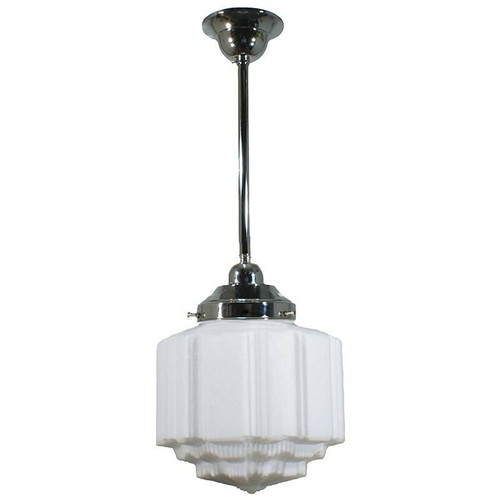 St Kilda Chrome Rod Opal Matt Pendant Light - Small