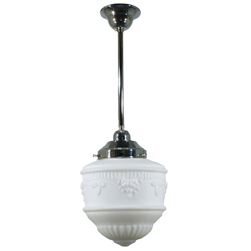 Senator Small Chrome Rod Opal Matt Pendant Light