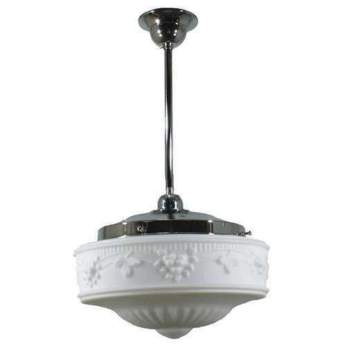 Senator Medium Chrome Rod Opal Matt Pendant Light