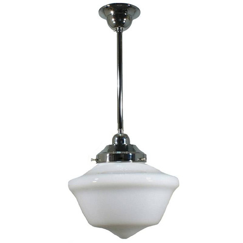 Victorian Schoolhouse Chrome Rod Opal Pendant Light