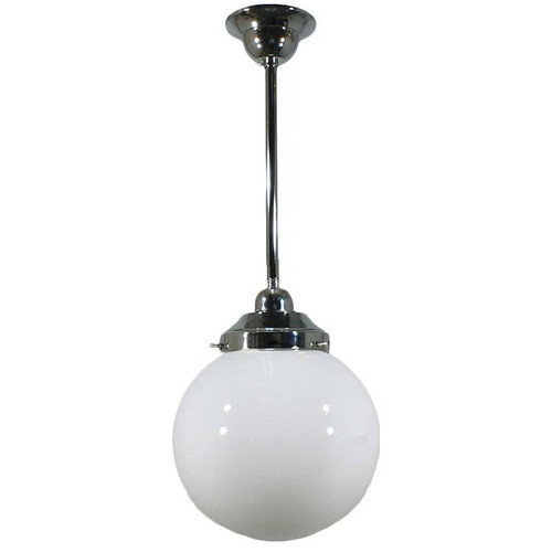 Sphere Chrome Opal Glass Pendant Light