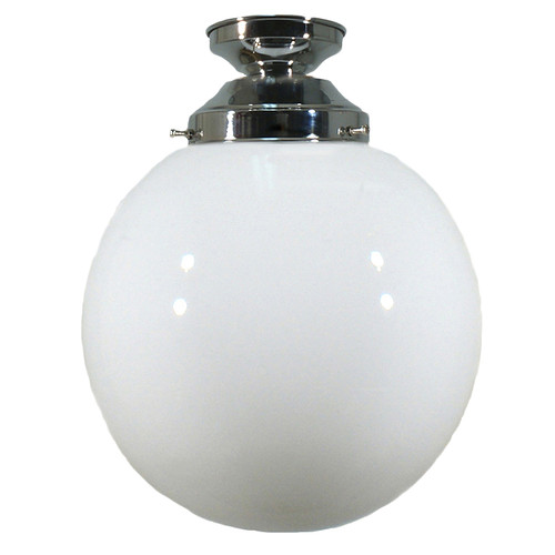 Sphere Chrome Opal Glass Close to Ceiling Light
